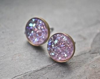Lavender Purple Druzy Stud Earrings Bridesmaid Jewelry Bridal Party