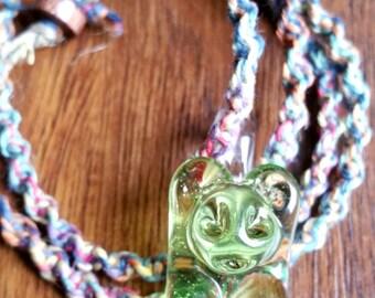White Chocolate Glass Gummy Bear Hemp Necklace