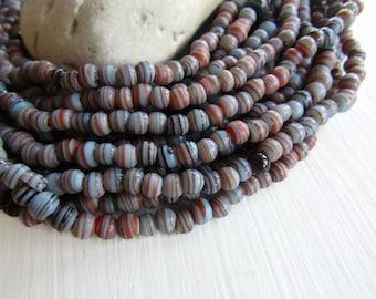 mini blue striped round glass lampwork bead, small spacer, irregular roundish boho ethnic Indonesian - 3.5 to 5.5mm /10 inch 6BB16-