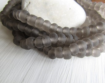 Small Grey Recycled glass rondelle beads, smoky grey matte frosted, irregular uneven, indonesia 5 to 6mm x 8 to 9mm  (20 beads) 6ak7-5