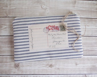 Shabby Rustic Chic Paris Postcard Blue and Cream Ticking Lace Zippered Pouch