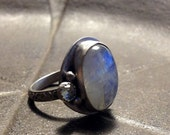 Rainbow Moonstone Sterling Silver Boho Ring Oval Stone - Size 7
