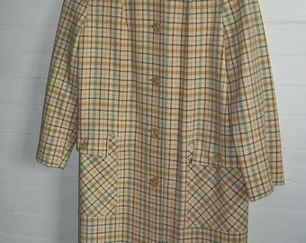 Cream Wool with Blue Brown Plaid Vintage 60s ladies Winter Coat S M Wetherbee
