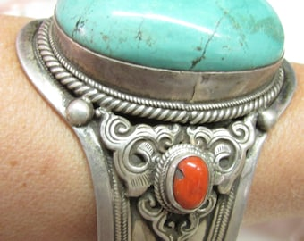 Object of Antiquity Large Vintage Tibetan Silver Cuff Bracelet Turquoise with Coral ~ Silk Road from Africa