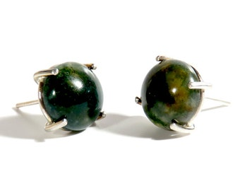 Moss Agate Post Earrings