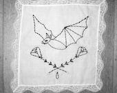 batty bat // embroidery on handkerchief