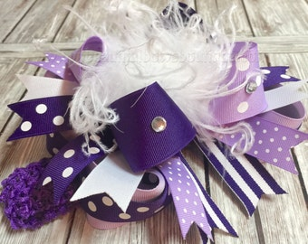 Purple Hair Bow Over the Top,Light Purple and White Baby Headband,Purple Birthday Party,Boutique Hair Bows Purple,Big Bows and Headbands