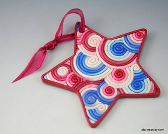 Star Ornament in Red, White and Blue Polymer Clay Filigree Fourth of July Independence Day