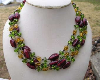 Pretty Multi Strand Red Green & Yellow Glass Necklace