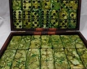 Green with Envy--- Hand Painted 28 Piece Professional Size Double Six Domino Set, SPINNERS in Leatherette Storage Briefcase, instructions