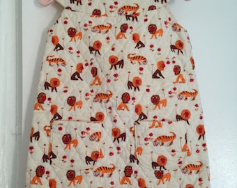 vintage Lion and tiger handmade dress quilted fabric 24M