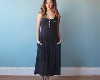 black tank dress / nautical black and gold midi dress / 1990s / small - medium