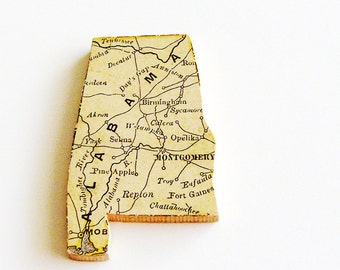 1907 Alabama Brooch - Pin / Unique Wearable History Gift Idea / Upcycled Antique Wood Jewelry / Timeless Gift Under 50