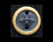 Ceramic Clasp: Honey Bee in Black Basaltic Stoneware