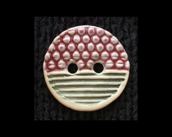 Handmade Ceramic Button: Purple Cobblestone over Corrugated Matte Gray and White