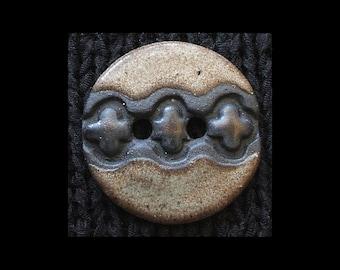 Handmade Ceramic Button: Black Basaltic Stoneware and Soft Beige