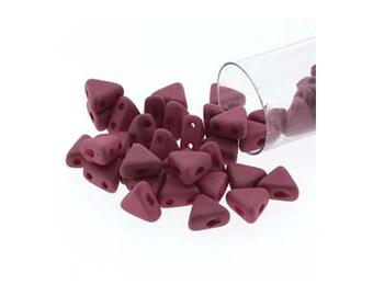 Kheops Par Puca 2 Hole Triangle Czech Beads 38120 9gr, Opaque Amethyst Silk Matte,  6mm Triangle Bead, Czech Glass Bead 2 Hole Bead 6mm Bead