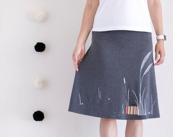 Women Pull On Skirt . A-line Knee Length Skirt . Charcoal Gray Summer Skirt . Jersey Skirt . Colorful Applique Skirt - My Luggage