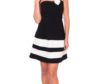 Unique Fashion . Women Strapless Dress . Black and White Dress . Flared Dress with Heart Apllique . Party Dress