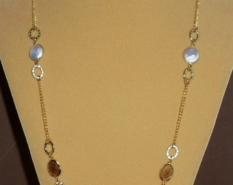 Smokey Topaz & White Coin Pearl Long Golden Chain Necklace