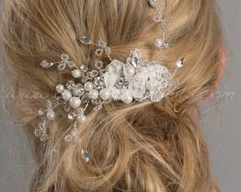 Bridal Lace Hair Comb, Pearl Hair Comb, Wedding Hair Accessory - Lucille