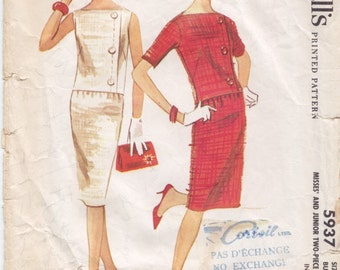 Vintage Pattern McCall's 5937 Overblouse and Skirt 60s Size 13 B33