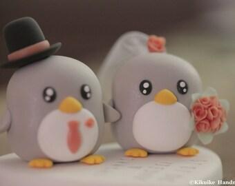 penguins wedding cake topper, penguin Wedding Cake Topper (K436)