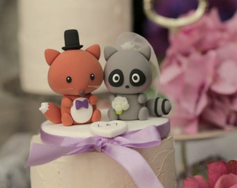 raccoon and fox Wedding Cake Topper---k762