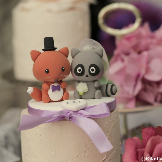 raccoon and fox Wedding Cake Topper---k762