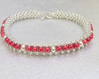 red pearl bracelet sterling silver beaded jewelry