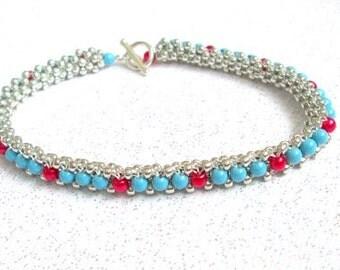 turquoise beaded jewelry swarovski beaded bracelet pearl bangle