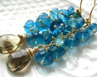 Bi Color Quartz and Apatite Earrings-La Cote D'Azur