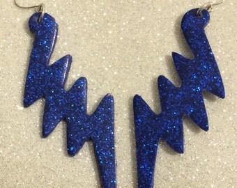 ZIGGY Earrings - lightning bolt handmade resin glitter drop earrings