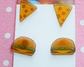 Scrummy Yummy Junk Food Earrings Ear Studs Burger and Pizza 2 Pairs