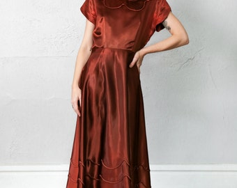 SALE - Chocolate Satin Gown 1940s