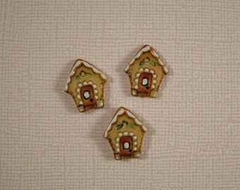Gingerbread House Button set of 3