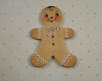 Large Gingerbread Man Button