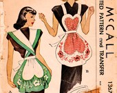 1940s McCall 1367 Vintage Sewing Pattern Misses Bib Apron, Full Apron One Size