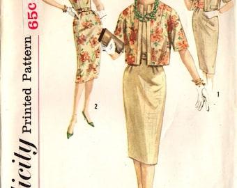 1960s Simplicity 3300 Vintage Sewing Pattern Misses, Juniors Slim Dress, Sheath, Reversible Jacket Size Bust 32, Bust 35, Bust 36