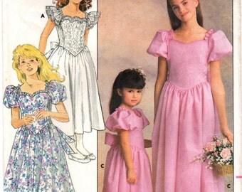 1980s Butterick 4672 Vintage Sewing Pattern Girls Formal Dress Size 7 - 8 - 10