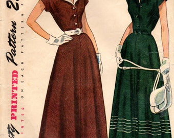 1940s Simplicity 2851 Vintage Sewing Pattern Misses Afternoon Dress, Shirtwaist Dress, Detachable Collar Size 14 Bust 32