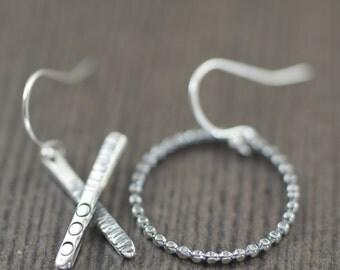Valentine's Day gift XO earrings X and O sterling silver earrings hoop earrings hammered earrings metal earrings