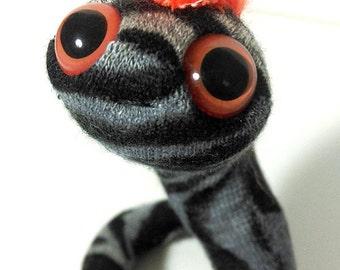 Punk zebra worm puppet plushie fluorescent animal print orange toy