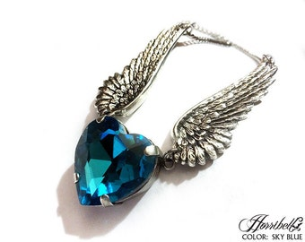Angel Wing Necklace with Blue Heart // Angel WIngs // Angel Necklace // Angel Wing Jewelry // Crystal Heart // Statement Necklace