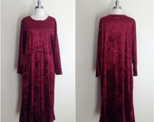 RESERVED RESERVED RESERVED Vintage 90's red crushed velvet dress / Crushed velvet midi dress