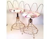 vintage vanity chairs - mid century brass vanity stools
