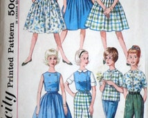 Sewing Pattern, Vintage 60's Simplicity 4540 Sub-Teens' Skirt, Blouse, Top And Pants, Size 12 Sub Teen, 31 Bust, Uncut FF