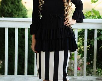 LillyAnnaLadies Noir HEATHER Ruffled Top Shirt Peplum LALA