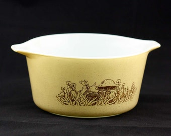 Forest Fancies Pyrex Bake-Serve-Store Casserole Dish - Brown and Tan with Mushrooms - Small 0.5 Liters #471