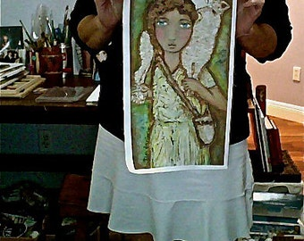 Young Good Shepherd  -  Print on Fabric from Original Painting (8 x 14.5 inches) by FLOR LARIOS